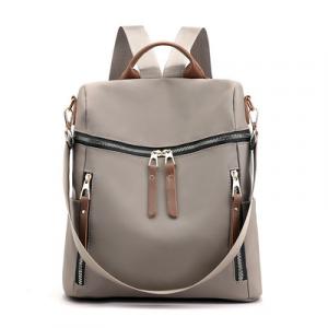 Zipper Closure Nylon Canvas Women Fashion Backpacks - Gray
