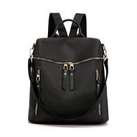 Zipper Closure Nylon Canvas Women Fashion Backpacks - Black