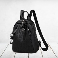 Alphabetic Printed Zipper Closure Backpacks - Black