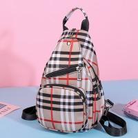 Checks Printed Nylon Zipper Back Strap Casual Backpacks - Khaki