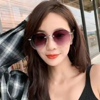 Girls Rimless Fashion Gradient Sunglasses - Gray