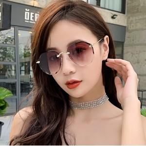 Girls Rimless Fashion Gradient Sunglasses - Light Coffee
