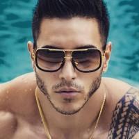 Men Fashion Square Frame Sunglasses - Black