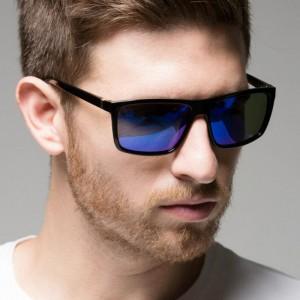 Mens Fashion Simple Sunglasses - Black Blue