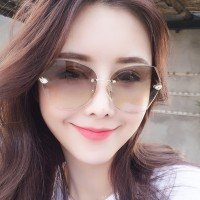 Ladies Fashion Simple Gradient Sunglasses - Light Brown