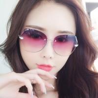 Ladies Fashion Simple Gradient Sunglasses - Purple Red