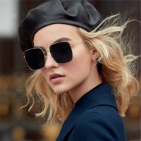 Ladies Simple Metal Frame Sunglasses - Gray Gold