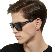Men Silver Frame Cool Sunglasses - Black