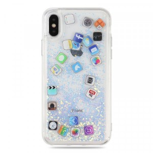 Printed Iphone Glittered Social Media Icons Anti Damage Anti Scratch Case Cover