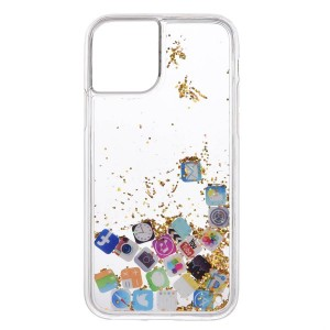 Glittered Social Media Icons Printed Iphone Anti Damage Anti Scratch Case Cover
