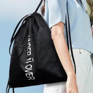 Alphabetic Prints Drawstring Nylon Canvas Shoulder Bags - Black