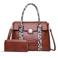 Crocodile Textured Exclusive Two Pieces Handbags Set - Brown