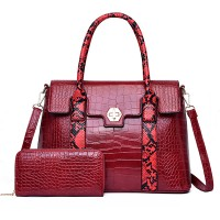 Crocodile Textured Exclusive Two Pieces Handbags Set - Red