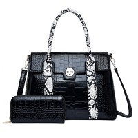 Textured Exclusive Two Pieces Handbags Set - Black