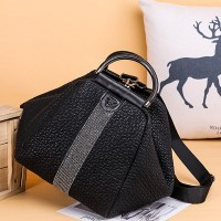 Textured Double Strap Designers Exclusive Handheld Bags - Black