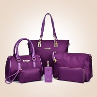 Six Pieces Nylon Zipper Closure Women Handbags Set - Purple