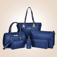 Six Pieces Nylon Zipper Closure Women Handbags Set - Blue