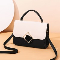Vintage Magnetic Closure New Fashion Messenger Bags - Black and White