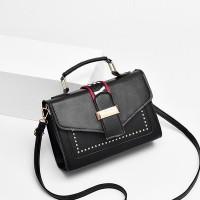 Magnetic Closure Buckle Style Vintage Style Handbags - Black