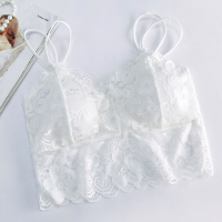 Lace Patched Spaghetti Strap Women Bridal Bra - White