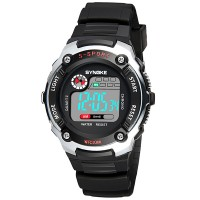 Contrast Battery Operated Casual Plastic Strap Digital Wrist Watch - Black