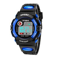 Contrast Digital Dial Plastic Strap Wrist Watch - Blue