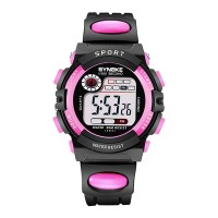 Contrast Digital Dial Plastic Strap Wrist Watch - Pink
