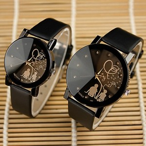 Leather Strap Analogue Couple Pair Watch - Black