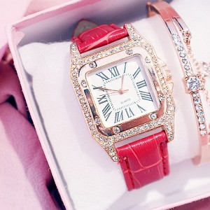 Crystal Patched Synthetic Leather Luxury Party Wrist Watch - Red