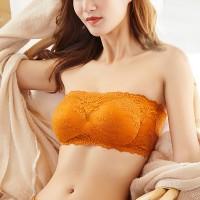 Lace Padded Hooked Closure Bandeau Bra - Orange