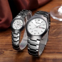 Stainless Steel Crystal Patched Elegant Style Couple Wrist Watch - White