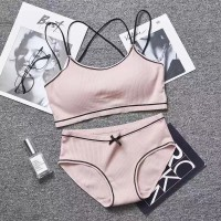 Ribbed Cross Strap Two Pieces Padded Bra With Underwear Set - Light Pink
