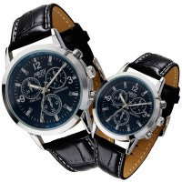 Leather Strapped Analogue Multi Dial Couple Wrist Watch - Black Blue