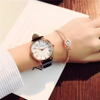 White Dial Leather Strapped Analogue Wrist Watch - White