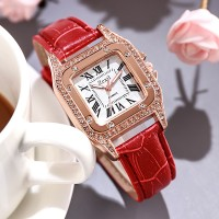 Crystal Patched Leather Strapped Roman Dial Wrist Watch - Red