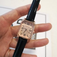 Roman Dial Leather Strapped Women Fashion Wrist Watch - Black