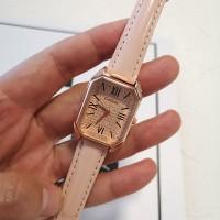 Roman Dial Leather Strapped Women Fashion Wrist Watch - Pink