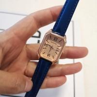 Roman Dial Leather Strapped Women Fashion Wrist Watch - Blue