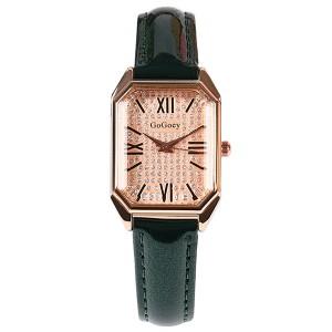 Roman Dial Leather Strapped Women Fashion Wrist Watch - Green