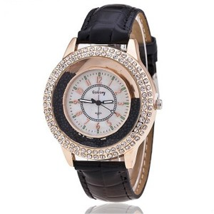 Crystal Patched Numerical Dial Decorative Wrist Watch - Black