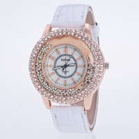 Crystal Patched Numerical Dial Decorative Wrist Watch - White
