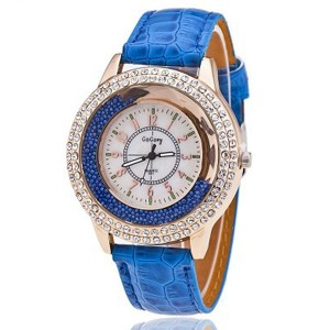 Crystal Patched Numerical Dial Decorative Wrist Watch - Blue