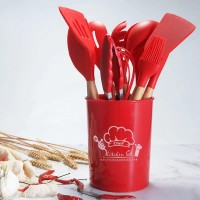 12 Pieces Wooden Handle High Quality Kitchen Utensils Set - Red