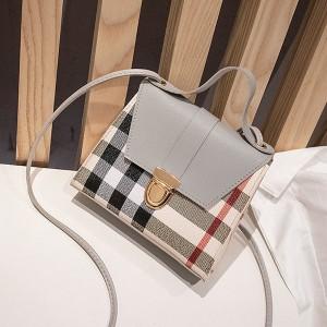 Geometric Prints Press Lock Women Messenger Bags - Gray