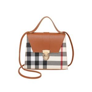 Geometric Prints Press Lock Women Messenger Bags - Brown
