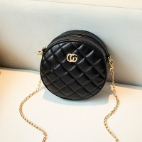 Patchwork Chain Strapped Round Shaped Designers Bags - Black