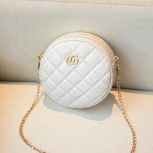 Patchwork Chain Strapped Round Shaped Designers Bags - White