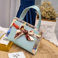Holographic Ribbon Printed Bow Messenger Bags - Blue