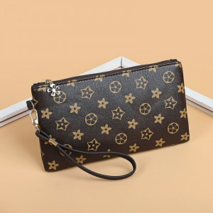 Printed Zipper Closure Fancy Designers Women Fashion Wristlet - Brown