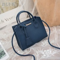 Tassel Leather Textured Zipper Closure Women Handbags - Dark Blue
